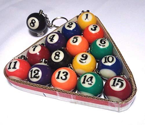 FidgetKute Lot of 3 - Billiard Pool Ball Key Chain Varied Colors - Choose Your Favorites 11 7 3 One Size