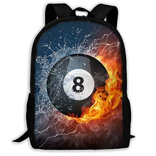 Korean Mens Backpack Fashion Trend Casual Shoulder Bag Travel Bag College Junior High School Student Bag Female Water Fire Flame Billiard Ball