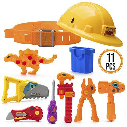 Prextex Dinosaur Themed Kids Tool Belt with Adjustable Childrens Carpentry Construction Yellow Hard Hat Dinosaur Toys