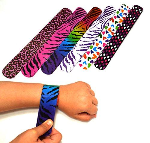 Dazzling Toys Heartsanimal Print Slap Bracelets - Pack of 25