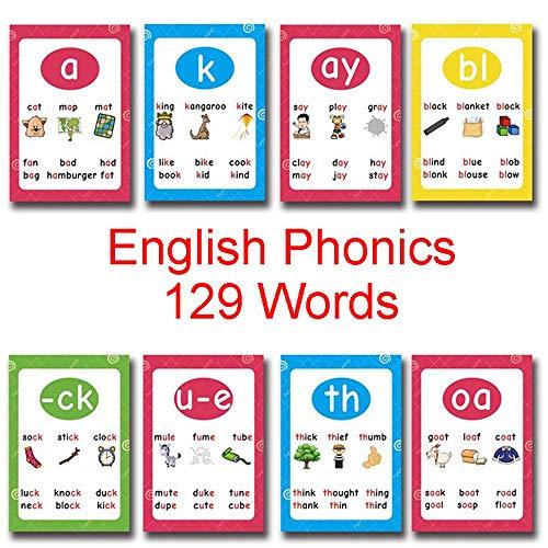 Richardy 129 Words English Phonics Child Flash Cards Set Baby Card Learning Toys Educational Kids Preshool Kindergarten