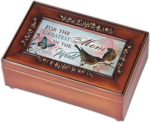 Greatest Mom Rich Walnut Finish Petite Jewelry Music Box - Plays Amazing Grace by Cottage Garden
