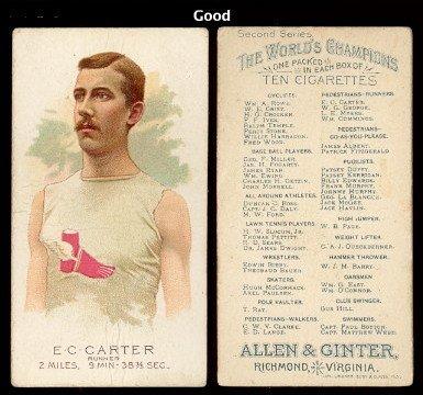 1888 Allen Ginter Regular Miscellaneous Card 23 EC Carter Good Condition