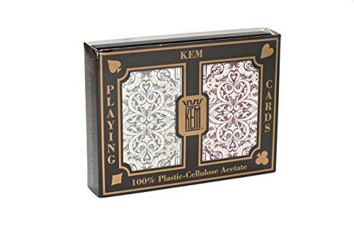 Kem Jaquard Burgandy Green Bridge Playing Cards Regular Index by KEM