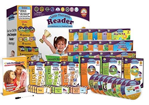 Early Reading Program for Baby Toddler Preschool Kindergarten- Alphabet Vowel Phonics 200 Sight Words - Little Champion Reader 9 DVD Flash card Book Kit