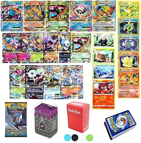 Assortmart 50 Pokemon Card Lot Mega EX - Booster Pack - Elite Trainer Kit Free Deck Box Random Bonus Sleeves