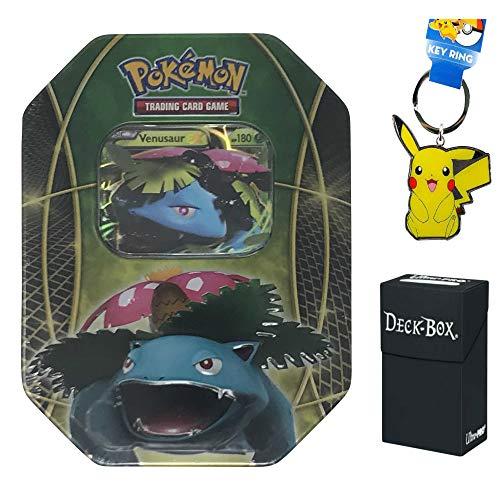 Pokemon Venusaur EX Tin with Venusaur EX Promo Card 4 Pokemon Booster Packs Bundle with Pikachu Keychain and Ultra Pro Deck Box - 3 Items