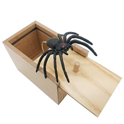 DE Spider Prank Scare Box,Wooden Surprise Box,Handmade Fun Practical Surprise Joke BoxesGags Practical Joke Toys Halloween