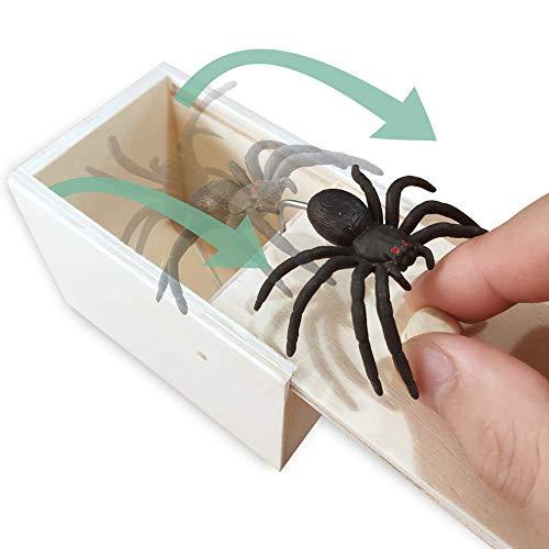 Kikole Spider Prank Scare Box,Wooden Surprise Box,Handmade Fun Practical Surprise Joke Boxes Gags Practical Joke Toys Halloween