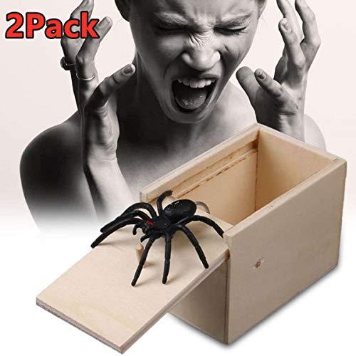 XMSSIT The Original Spider Prank Box 2Pack - Funny Wooden Box Toy Prank Hilarious Christmas Money Gift Box Surprise Toy and Gag Gift Practical Joke Bromas Kit