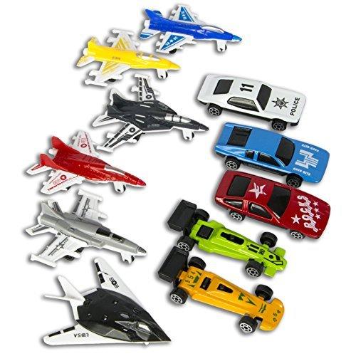 BONUS PACK Race Cars Fighter Planes Play Set 5 Set Diecast Toy Car 6 Battle Planes 11 piece toy kit