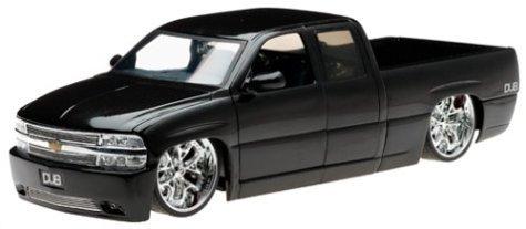 2002 Chevy Silverado Diecast Model Truck - 118 Scale Black by Dub City