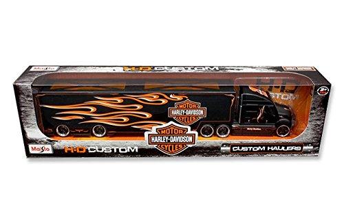 Maisto 11516BK Harley Davidson Custom Hauler Trailer Black 1-64 Diecast Model Truck