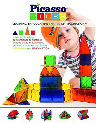 PicassoTiles 60 Piece Set 60pcs Magnet Building Tiles Clear Magnetic 3D Building Blocks Construction Playboards - Creativity beyond Imagination Inspirational Recreational Educational Conventional