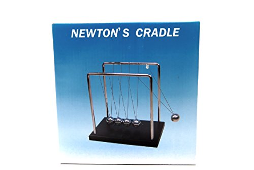 Newtons Cradle Art in Motion 7 14-Inch Balance Balls - Black Wooden Base
