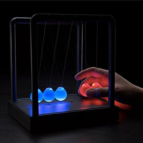 ScienceGeek Newtons Cradle Desktop Gadget 3 LED Colors Change Shine Light Ball Balance Ball