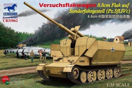Bronco Versuchsflakwagen 88cm Flak auf Sonderfahrgestell PzSflIVc 135 Scale Military Model Kit