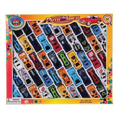 50 PC Race Car Set - Metal Plastic Die Cast Cars Color 50 Cars 1 Pack Model  Toys Play