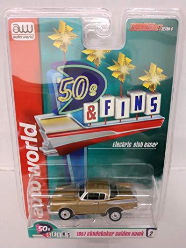 Auto World SC334-2 50s Fins Gold 1957 Studebaker Golden Hawk HO Scale Electric Slot Car