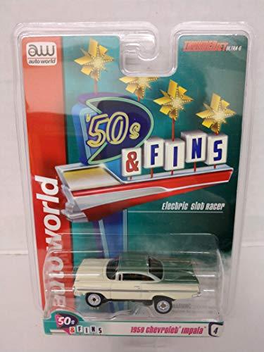 Auto World SC334-4 50s Fins Cream and Green 1959 Chevrolet Impala HO Scale Electric Slot Car