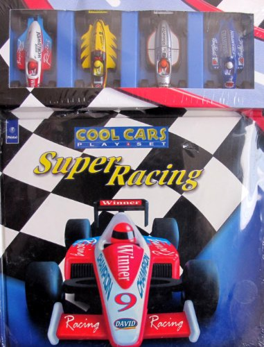 COOL CARS PLAY SET Super RACING w STORY BOOK 4 RACE CARS 2001
