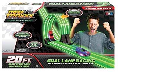 Max Traxxx Tracer Racers 20 Ft Glow in the Dark Racing Set