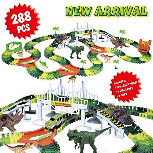 Dinosaur Track Toy Set 288 Piece Dinosaur Car Race Track Toy with 264 Flexible Tracks 1 Dinosaur Car and 1 Race Car Create a Dinosaur Track Dinosaur Toy for Kids Boys Girls Children Ages 3