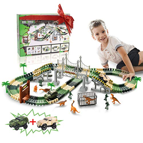 TTOUADY Dinosaur Toys Trains Race Car Track Sets 158 Tracks 2 Cars 6 Dinosaurs Awesome for Kids Learning Toys for 3 4 5 6 Years Old Boys Girls