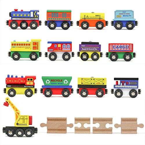 Tiny Conductors 12 Wooden Train Cars 1 Bonus Crane 4 Bonus Connectors Locomotive Tank Engines and Wagons for Toy Train Tracks Compatible with Thomas Wood Toy Railroad Set Trains
