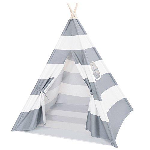 DalosDream Teepee Tent for Kids-100 Natural Cotton Canvas Children Tent-Grey Striped