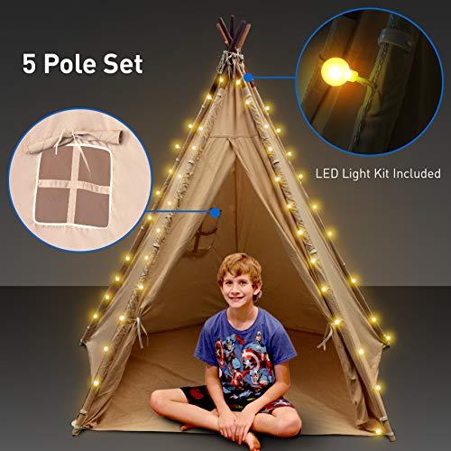 Indoor Teepee with Lights - Kids Classic Indian Play Tent Carry Bag - Bonus Lights Windows and Floor 5 Poles - 62 Tall