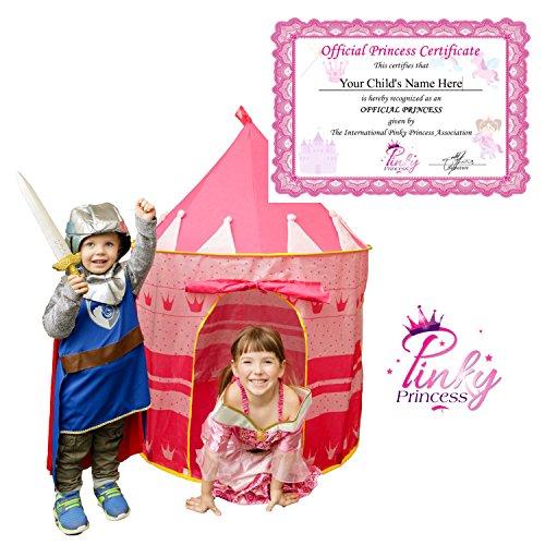 PinkyPrincess Princess Castle Childrens Play Tent Includes Official Princess Certificate