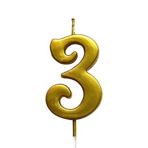 MAGJUCHE Gold 3rd Birthday Numeral Candle Number 3 Cake Topper Candles Party Decoration for Girl Or Boy