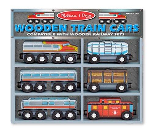 Melissa Doug Wooden Train Cars Set