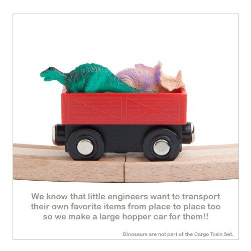 Orbrium Toys Cargo Train Car Set for Wooden Railway 5-Piece
