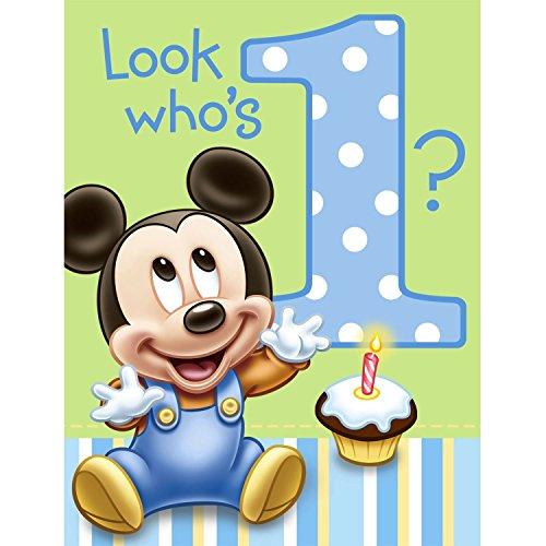 Hallmark Mickeys 1st Birthday Invitations - 8 ct
