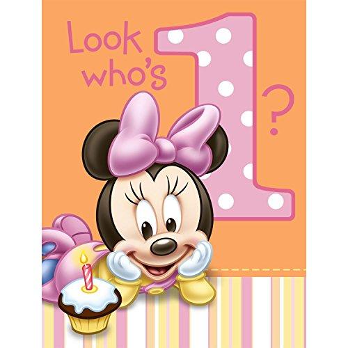 Hallmark Minnies 1st Birthday Invitations - 8 ct