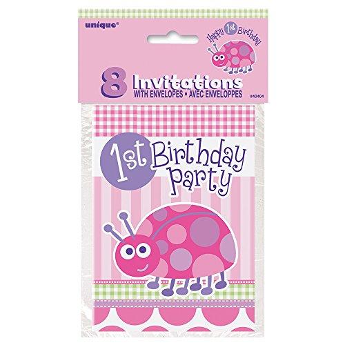 Ladybug 1st Birthday Invitations 8ct