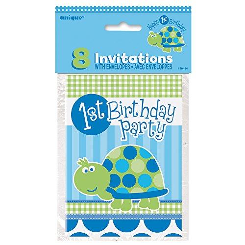 Turtle 1st Birthday Invitations 8ct