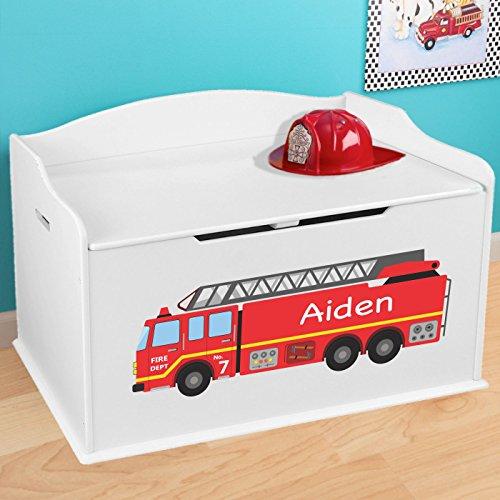Personalized Firetruck Design Toy Box - White