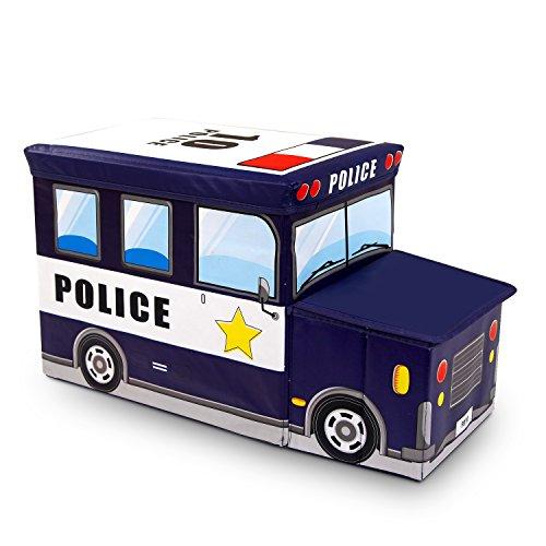 Storage Box Driving Dream Police Car Collapsible Versatile Toy Organizer