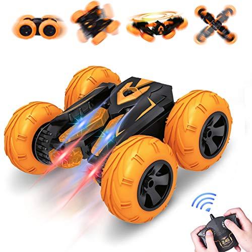 VAZILLIO Remote Control Stunt Car 24GHz RC Road Racer Crawler Tumbler 360 Flip Rally VehicleNovelty Intellectual Toys for Kid Boys Girls Orange