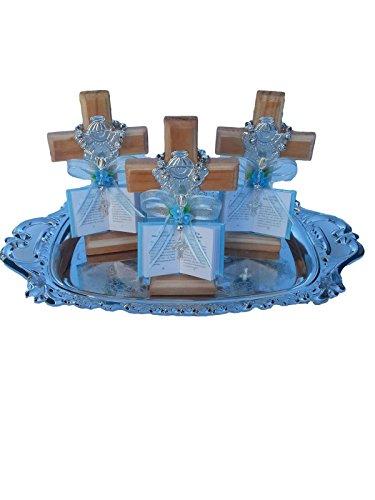 Blue Boy Baptism Gift Wooden Cross Baptism Favors 12 Recuerdos Para Bautizo Spanish Party Pack