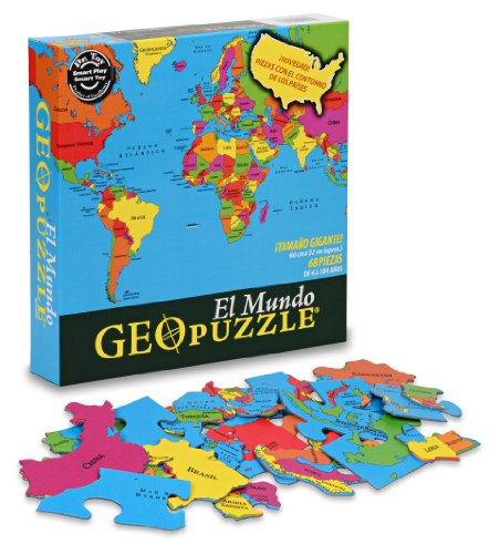 GeoToys GeoPuzzle World Spanish Edition - Educational Geography Game - Map Game and Jumbo Puzzle for Sensory Learning Geography Learning and Spanish Language Learning Fun