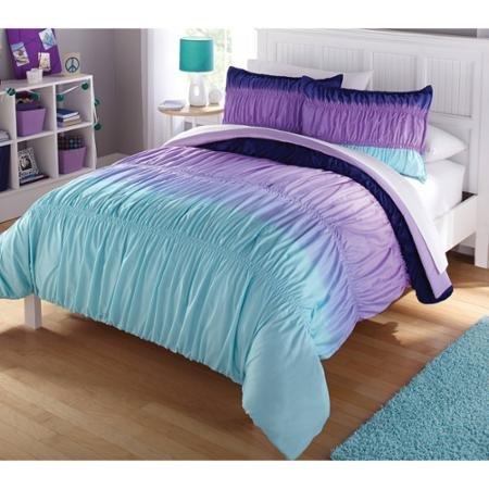 7pc Girl Purple Tie Dye Full Comforter Set 7pc Bed in a Bag
