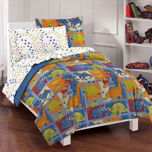 Dream Factory Dinosaur Blocks Ultra Soft Microfiber Boys Comforter Set Blue Full