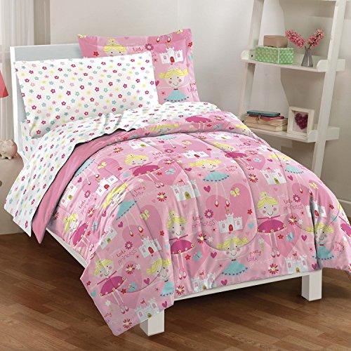 Dream Factory Pretty Princess Ultra Soft Microfiber Girls Comforter Set Pink Full