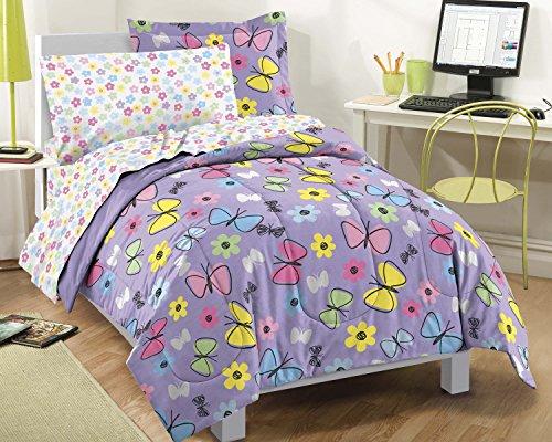 Dream Factory Sweet Butterfly Ultra Soft Microfiber Comforter Set Purple Full