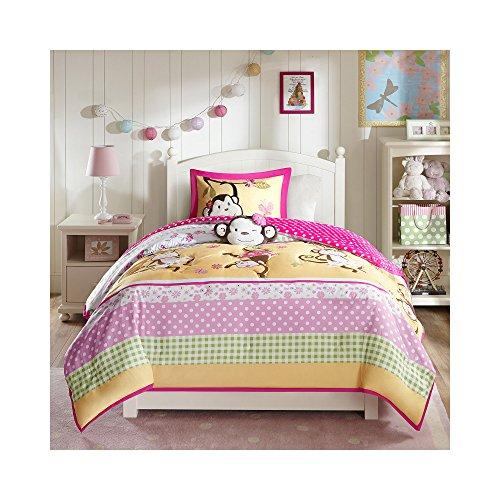 Mizone Kids Monkey Business 3 Piece Comforter Set Pink Twin