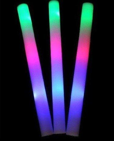 120 pack of 18 Multi Color Foam Baton LED Light Sticks - Multicolor Color Changing 3 model flashing